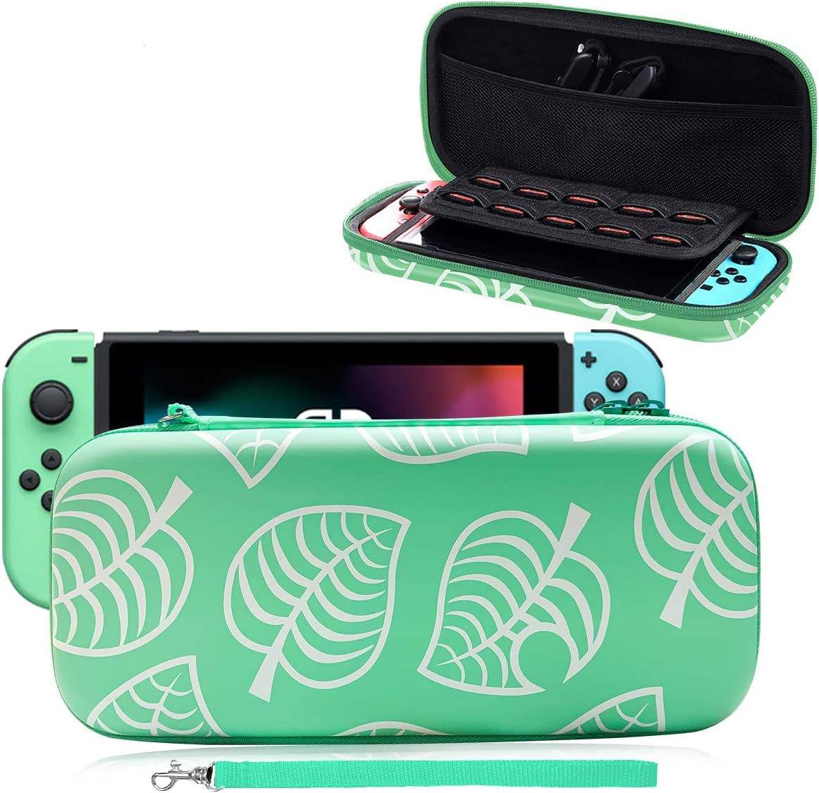 Carrying Case for Nintendo Switch,[New Horizons Edition] New Leaf Crossing Full Protective Carrying Case for Switch, Portable Travel Carry Case Bag for Nintendo Switch - Blue-Green
