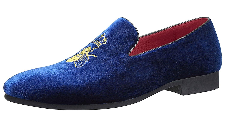 Mocasines Hombre Mocasín Zapatos de Vestir Moda Terciopelo Casual Slip-on Zapatillas para Hombre Bordado Negro/Azul/Rojo/Verde/Gris: Amazon.es: Zapatos y ...