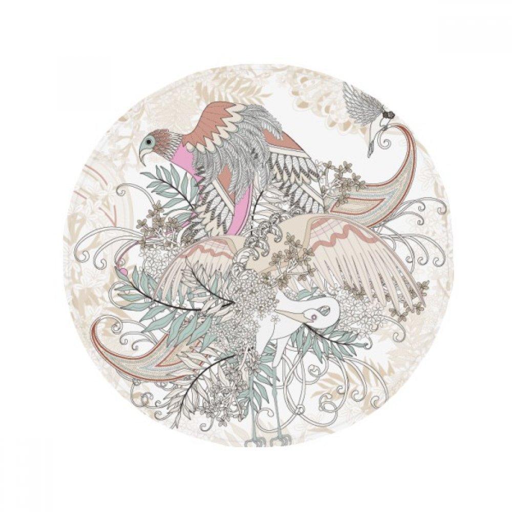 60X60cm DIYthinker Flower Tree Bird Ukiyo-E Leaves Anti-Slip Floor Pet Mat Round Bathroom Living Room Kitchen Door 60 50Cm Gift