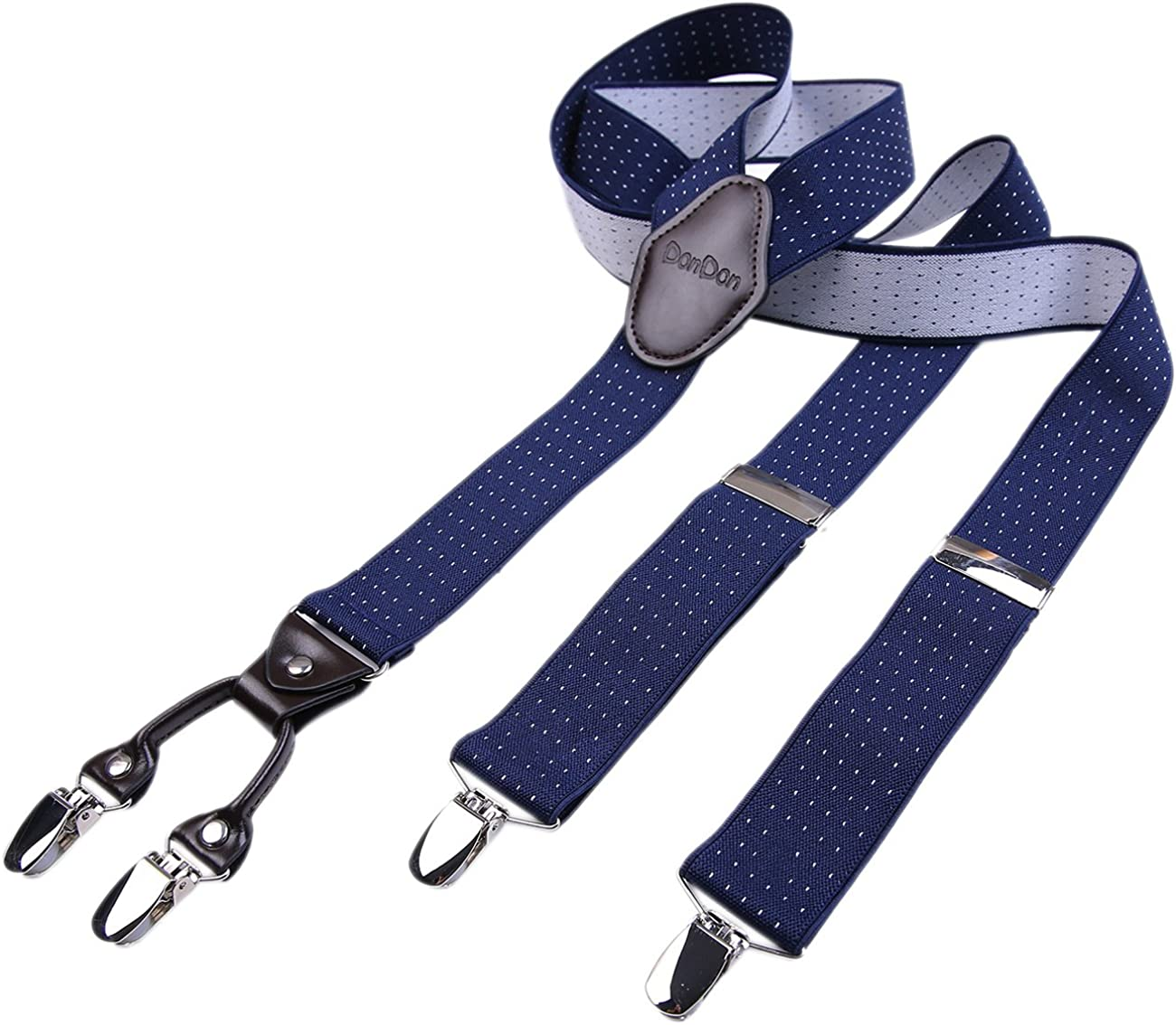 DonDon hombres tirantes 3,5 cm ancho 4 clips con piel cuero marrón de forma Y elástico y con longitud ajustable