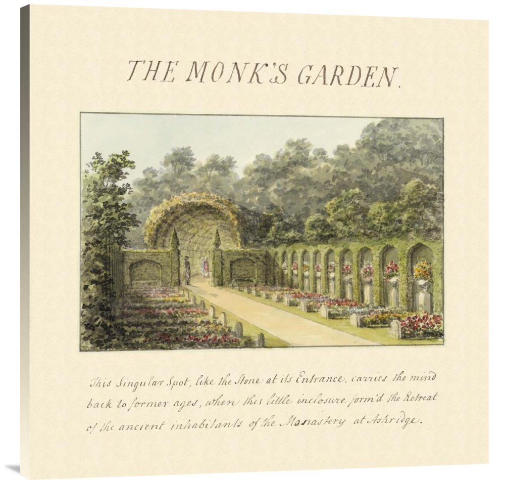 Global Gallery Budget GCS-453921-3636-142 Humphry Repton The Monks Garden 1813 Gallery Wrap Giclee on Canvas Wall Art Print