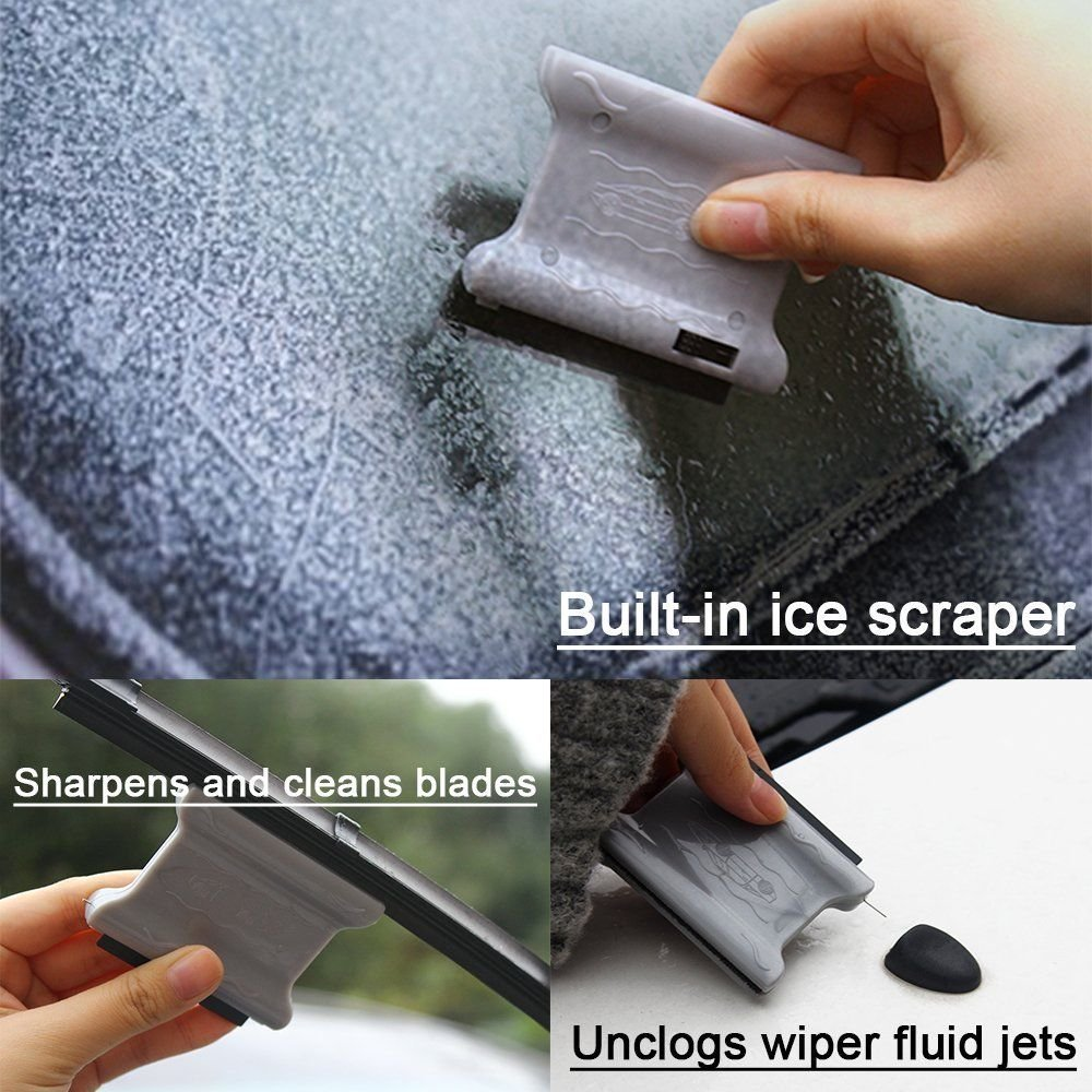 Pack of 2 Windsheild Ice Crusher Scraper with Windshield Washer Nozzle Unclog Needle F/&T 3 in 1 Mini Portable Automotive Windshield Wiper Blades Restorer Cleaner
