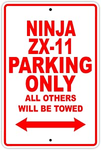 "KAWASAKI NINJA ZX-11 Parking Only All Others Will Be Towed Motorcycle Bike Super Bike Chopper Novelty Garage Aluminum 8""x12"" Sign Plate"