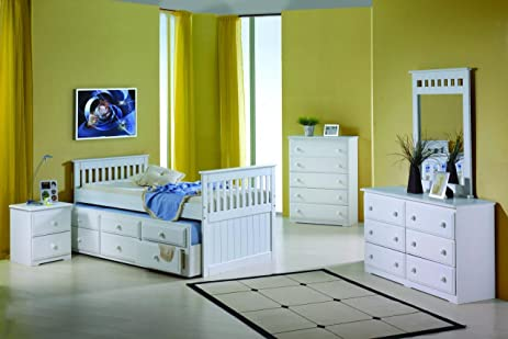 twin mission captains white trundle bed