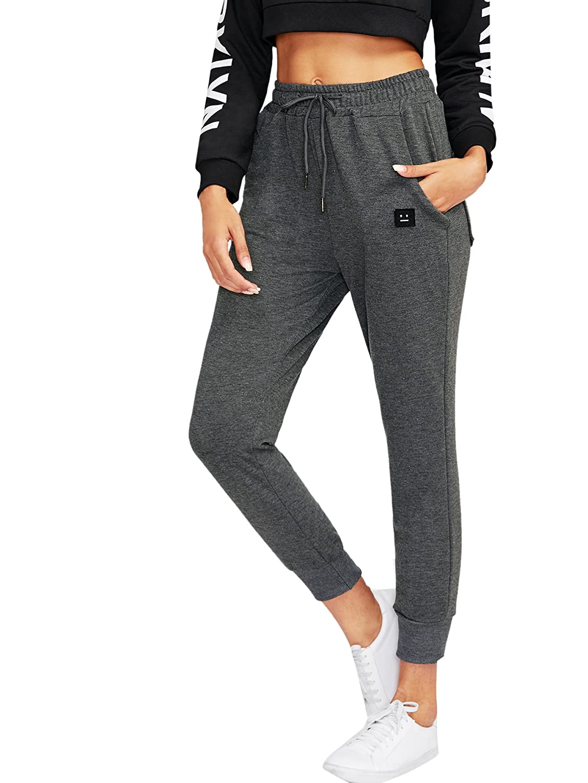 1dark Grey SweatyRocks Women's Casual Sweatpants Yoga Workout Jogger Pants with Pockets