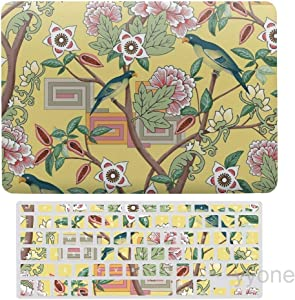 Parrots and Peonies Chinoiserie on Butter Yellow Plastic Hard Shell Case&Screen Protector with Keyboard Cover for MacBook Air 13