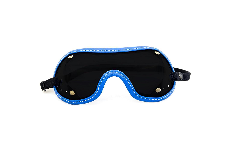 raleri TROOPER AirJump Dark BLUE - Occhiale Vintage Moto, paracadutismo (lanci con paracadute, lancio base jump), equitazione (cavallo, cavaliere, fantino, galoppo) - BLU LENTE SCURA