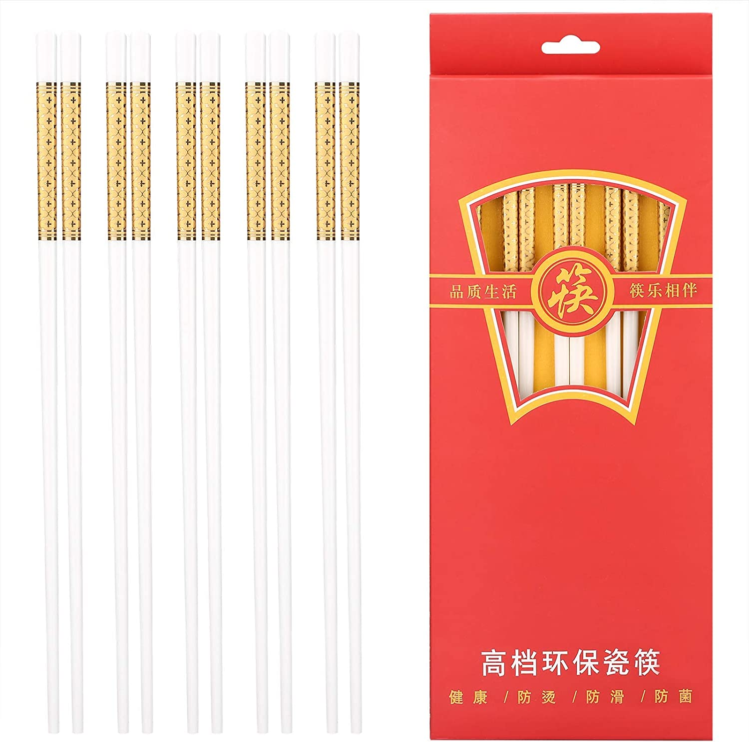 Chopsticks Reusable, Yarloo Ceramic Chopsticks for Sushi or Other Japanese Chinese Korean Cooking Foods, Mildewproof Healthy and Easy to Clean, 10 Pairs Gift Package, Dishwasher Safe (Royal Gold)
