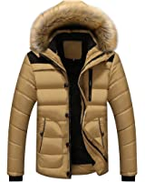 JYG Men's Winter Thicken Coat Slim Fit Quilted Puffer Jacket With Fur Hood