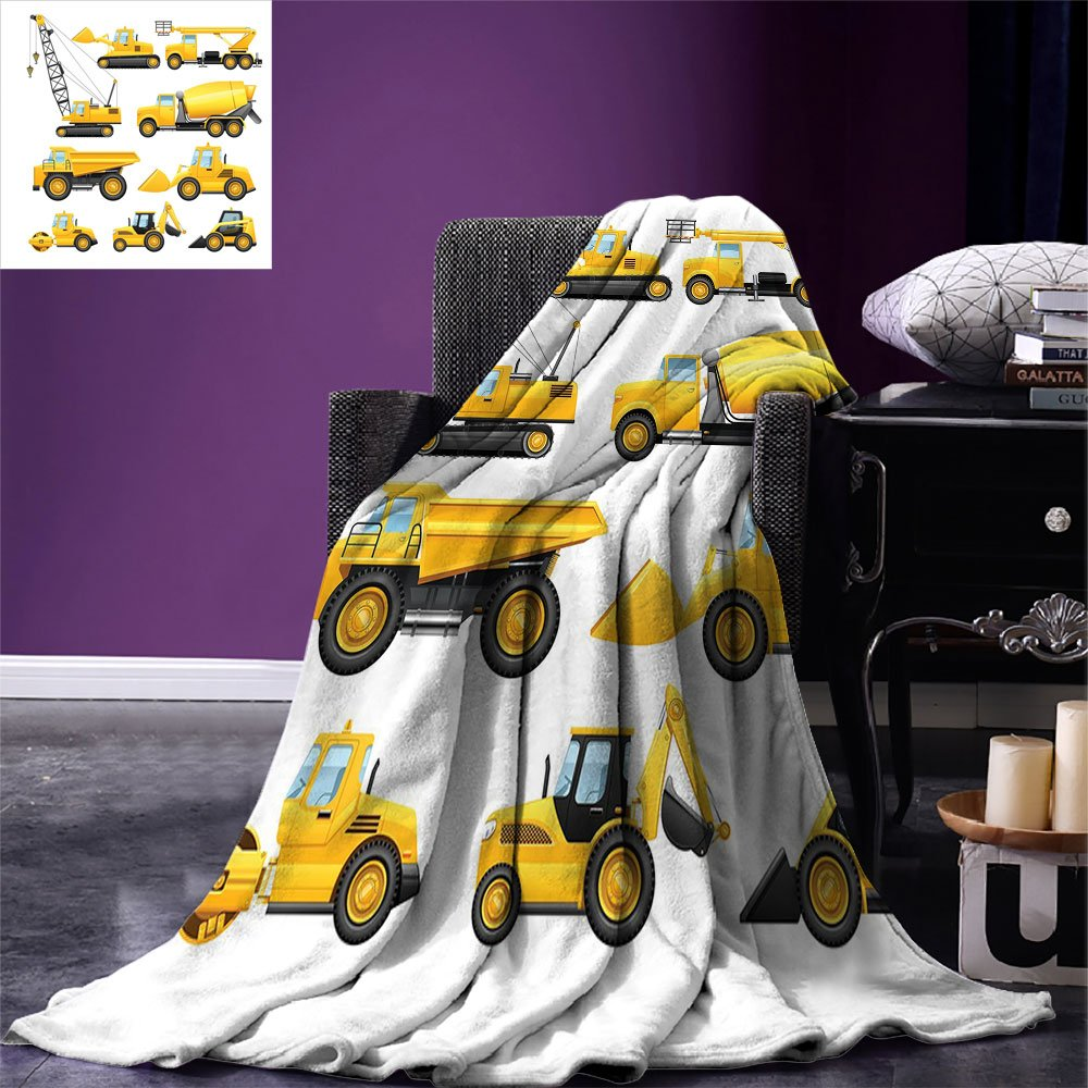 smallbeefly Boys Digital Printing Blanket Abstract Images of Construction Vehicles and Machinery Trucks Bulldozer Crane Summer Quilt Comforter Earth Yellow Black