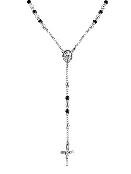 Kikkapo - Collar rosario para hombre y mujer de acero ...
