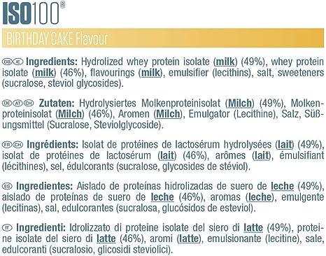 Dymatize ISO 100 Birthday Cake 2,2kg - Hidrolizado de Proteína de Suero Whey + Aislado en Polvo