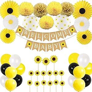 CHRORINE Sunflower Baby Shower Party Decorations Kit, Baby Shower Decorations for Girl, Baby Shower Decor - Banner, Cupcake Toppers, Lanterns, Paper Fans, Pom Poms, Balloons