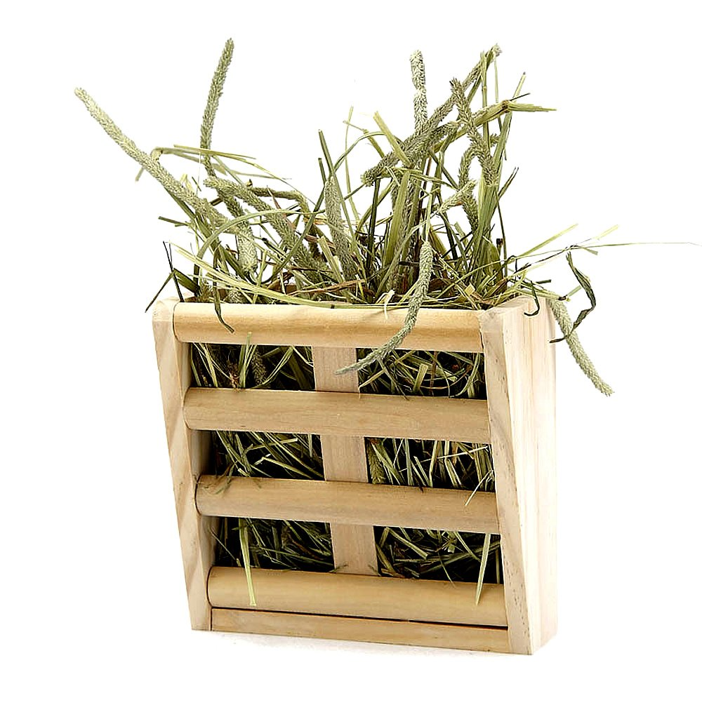 Hay Feeder Rack for Rabbit Guinea Pig Chinchilla Small Animals Cage, Mrlipet Natural Wooden Hay Manger Keep Grass and Food Minimizing Waste No Mess by Mrli Pet