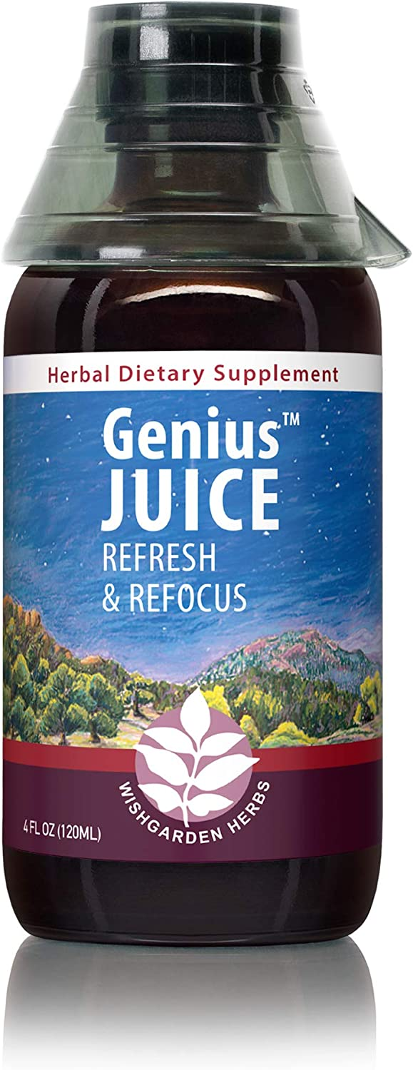 WishGarden Herbs Genius Juice - Herbal Mental Clarity Tincture and Brain Booster Supplement with Gotu Kola and Gingko Leaf, Promotes Brain Clarity and Focus, 4 Ounce