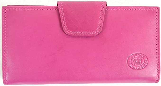LADIES SOFT NAPPA LEATHER MATINEE PURSE WITH BACK /& INNER ZIP Navy Pink Red Blue