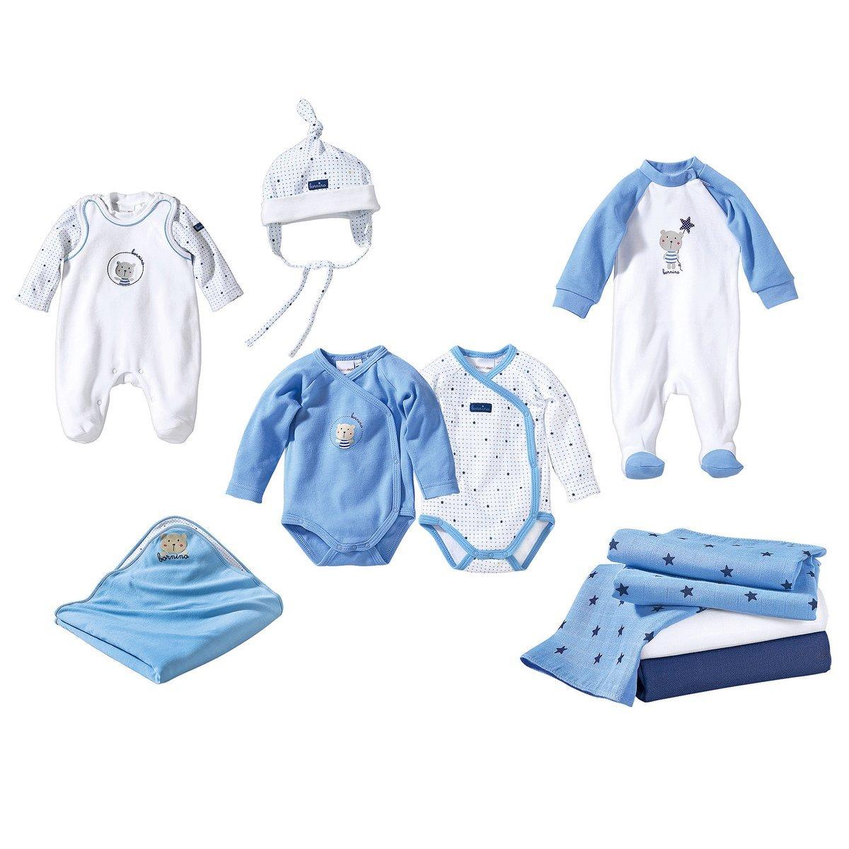 Bornino Erstausstattung für Baby Jungen / 10-teiliges Set Babybekleidung mit Wickelbody und Mütze
