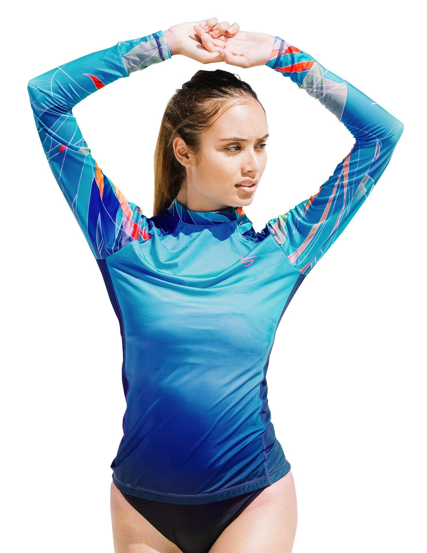 Women's Rash Guard Swim Shirt Long Sleeve Swimsuit Top Bathing Swimming Shirts - Sun Protection Clothing UPF 30+ (Marina, L) by Platinum Sun