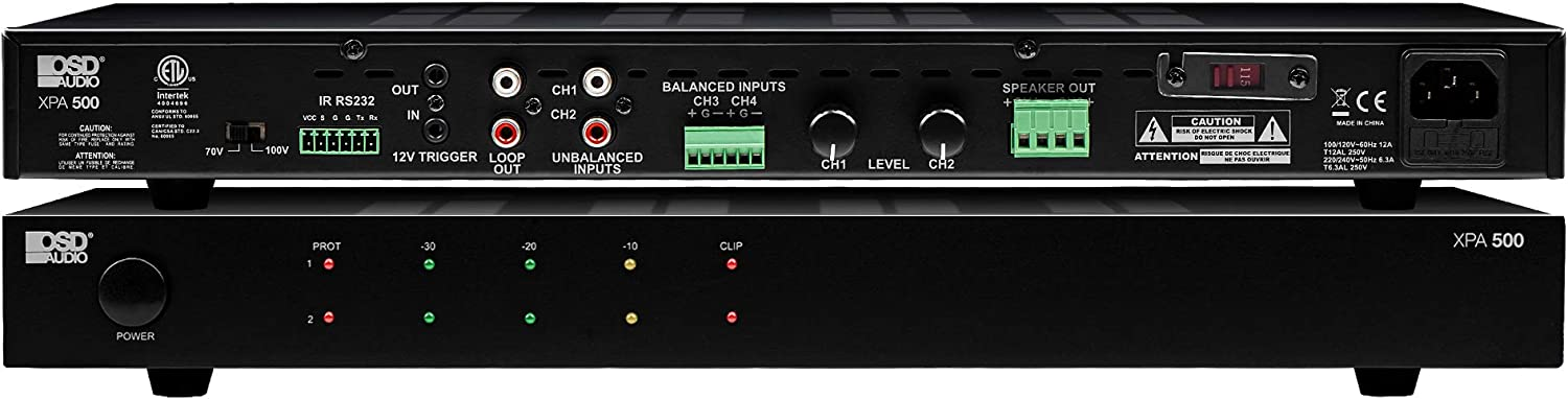 OSD Audio 1000W 2CH Commercial Amplifier 100/70V, Class D LED Indicator Lights, RS232