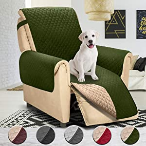 Nat-Hom Reversible Recliner Chair Cover,Pet Cover for Chair,Furniture Protector, Machine Washable,(Small Recliner:Green/Beige)