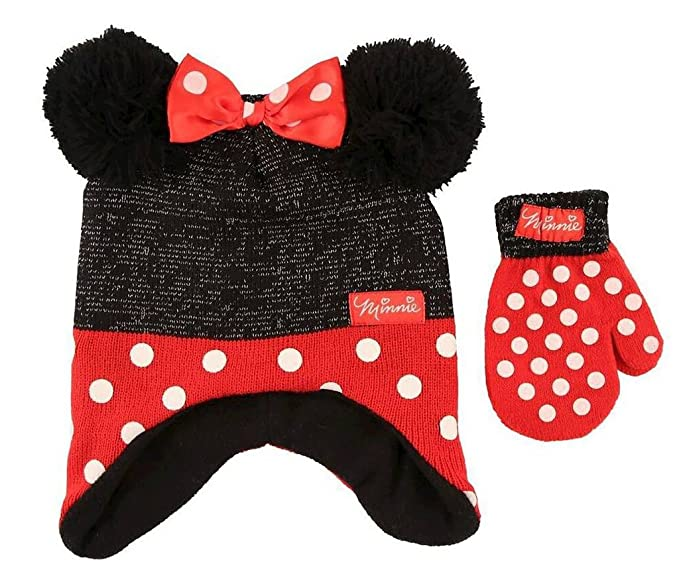 Disney Toddler Minnie Mouse Little Girls Toddler Winter Hat   Mitten Set  Black Red 01b5b79f658