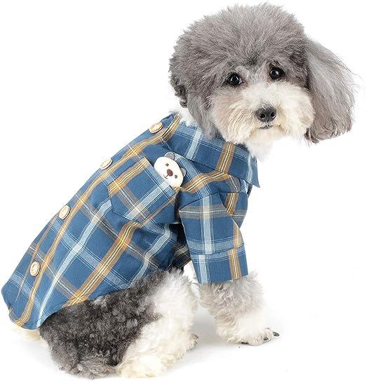 Zunea Verano Camisas para Perros Pequeños Cachorros Ropa Suave Algodón Tartán Chaleco Básico Estilo Británico Transpirable Mascota Camisetas Perro Gato Polo Ropa para Chihuahua Yorkshire: Amazon.es: Productos para mascotas