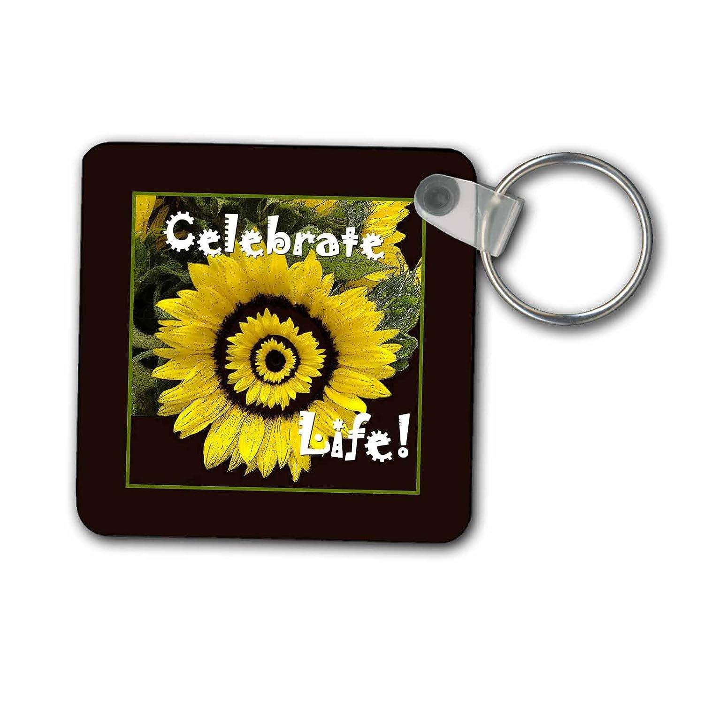 3dローズ黄色いヒマワリは人生を祝う、ブラックフレーム - キーチェーン、2,25 x 2,25