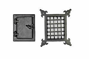 A29 Iron Speakeasy Door Grill/Grille with Viewing Door, Black Powder Coat Finish, Medium Size
