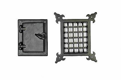 A29 Speakeasy Door Grill With Viewing Door, Black Powder Coat Finish,  Medium Size