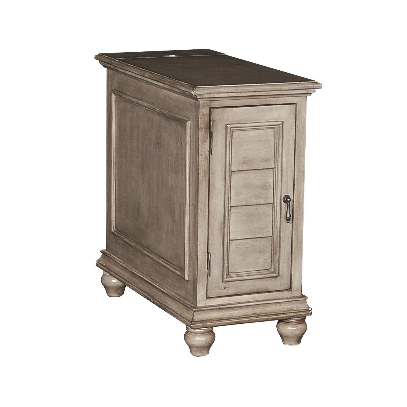 Grey Powell's Furniture 16A8257C Olsen Cream Shutter Cabinet,
