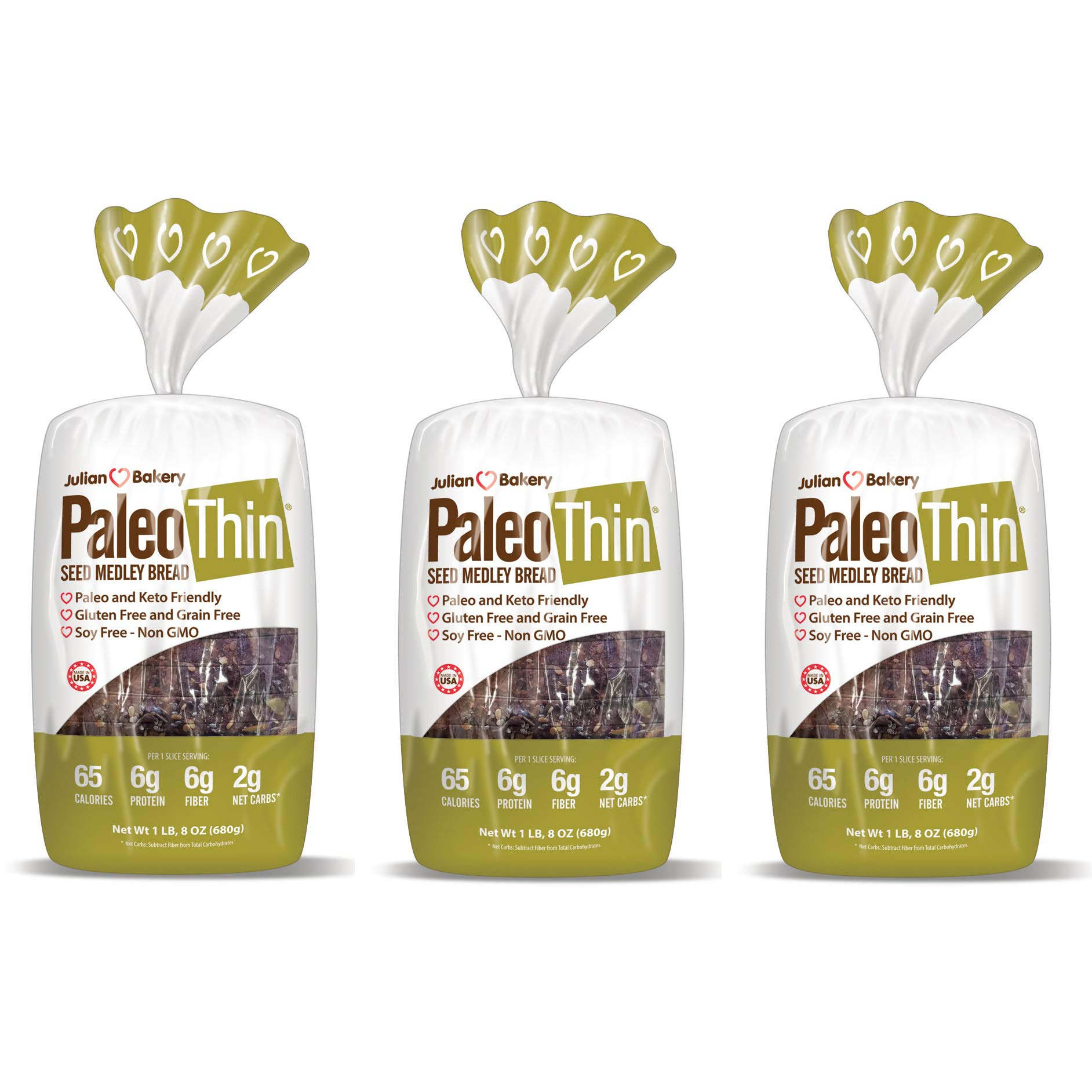 Paleo Bread Seed Medley (3 Pack) Low Carb, Gluten-Free, Grain-Free (2 Net Carbs) by Julian Bakery