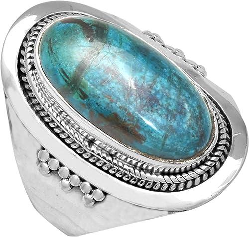 Larimar Genuine 12X16mm .925 Sterling Silver Vintage designer Ring.size 7