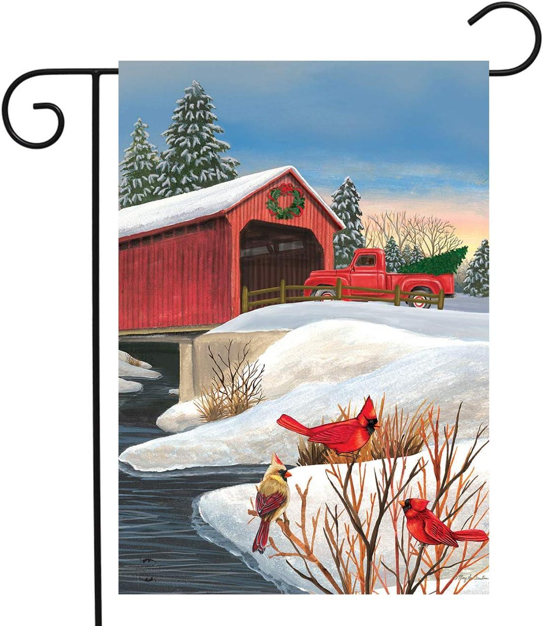 "Briarwood Lane Winter Bridge Garden Flag Pickup Truck Cardinals 12.5"" x 18"""