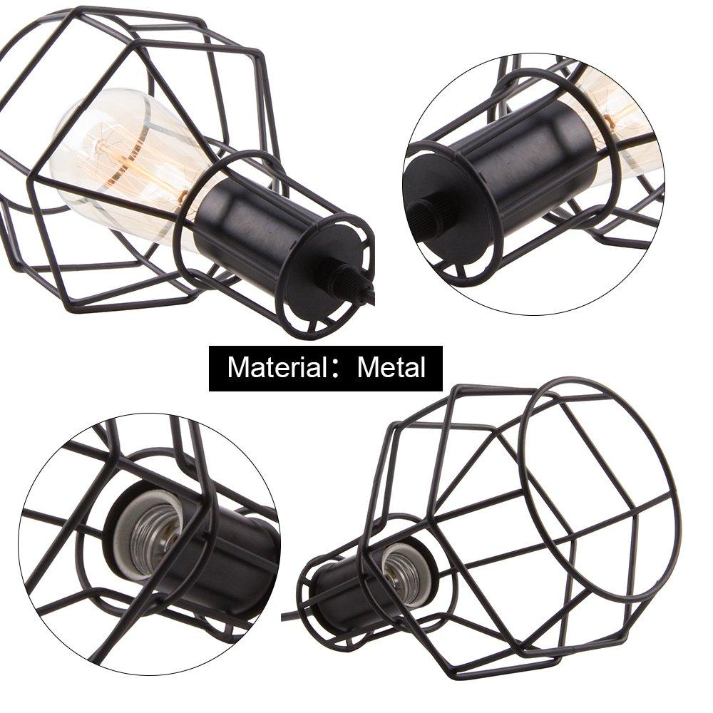Veesee E26 Hanging Adjustable Industrial Lighting Fixtures,Vintage Ceiling Pendant Lamp Cage Holders,Edison Bulb Metal Chandelier Drop Light for Kitchen Island Restaurant Coffee(Black) by Veesee (Image #3)