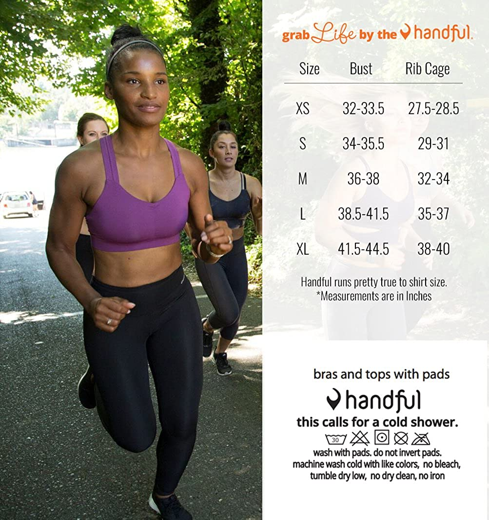 Handful Women s Y-Back Maximum Support Racerback Sports Bra with Removable  Pads 89d09b731