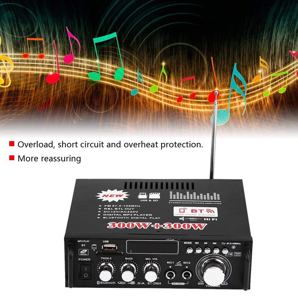 Amplificador Estéreo para Automóvil, 12V 600W Bluetooth HiFi Audio estéreo Amplificador de Potencia Control Remoto 220V USB, 4-8Ω Impedancia del Altavoz: ...