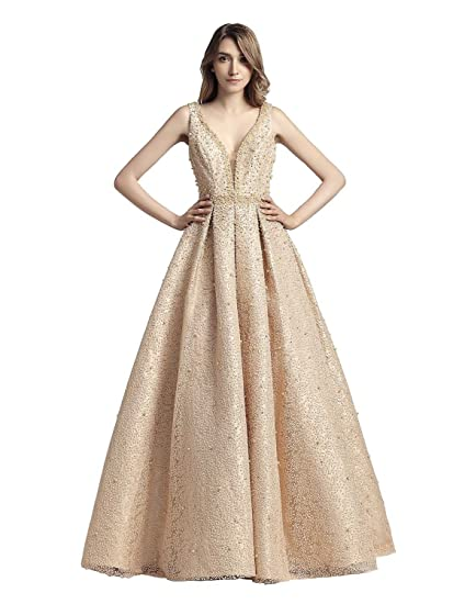Sarahbridal Women V Neck Long Prom Dresses Lace Formal Evening Party Ball Gowns For Girls SLX442