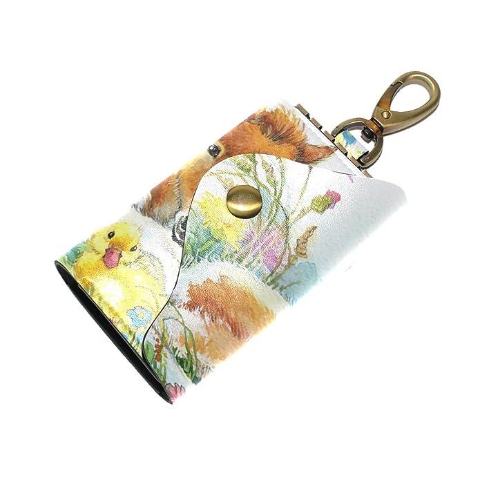DEYYA Flower Leather Key Case Wallets Unisex Keychain Key Holder with 6 Hooks Snap Closure