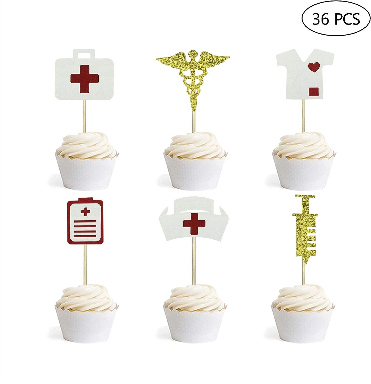 Nursing Cupcake Toppers Nurse Graduation Cupcake Toppers Medical Rn Themed Nursing Grad Party Decorations 36PCS