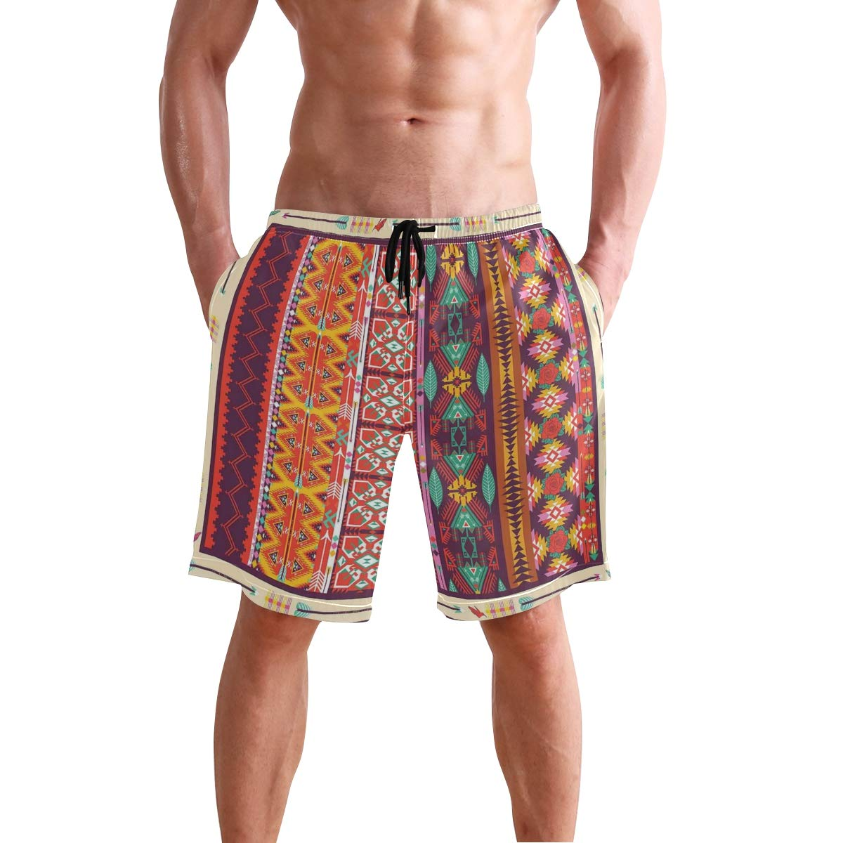 COVASA Mens Summer ShortsColorful Patchwork Art Oriental Patterns Ornaments Cu