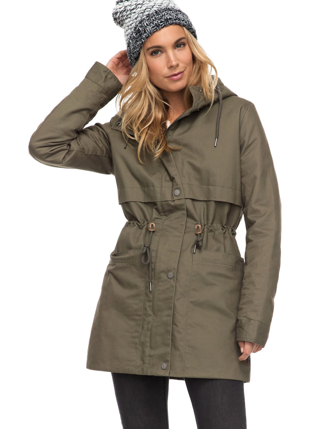 Roxy Womens Sea Dance - Water Repellent Parka - M - Green Dusty Olive M