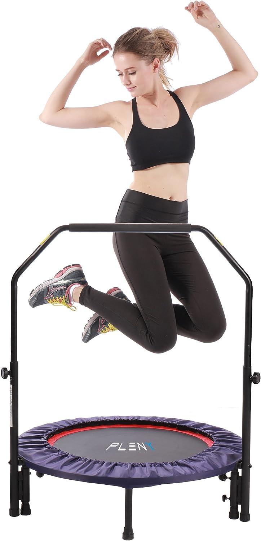 Mini cama elástica Pleny para fitness de interior con mango, 2en 1, para ejercicios aeróbicos con saltos,96,5cm.