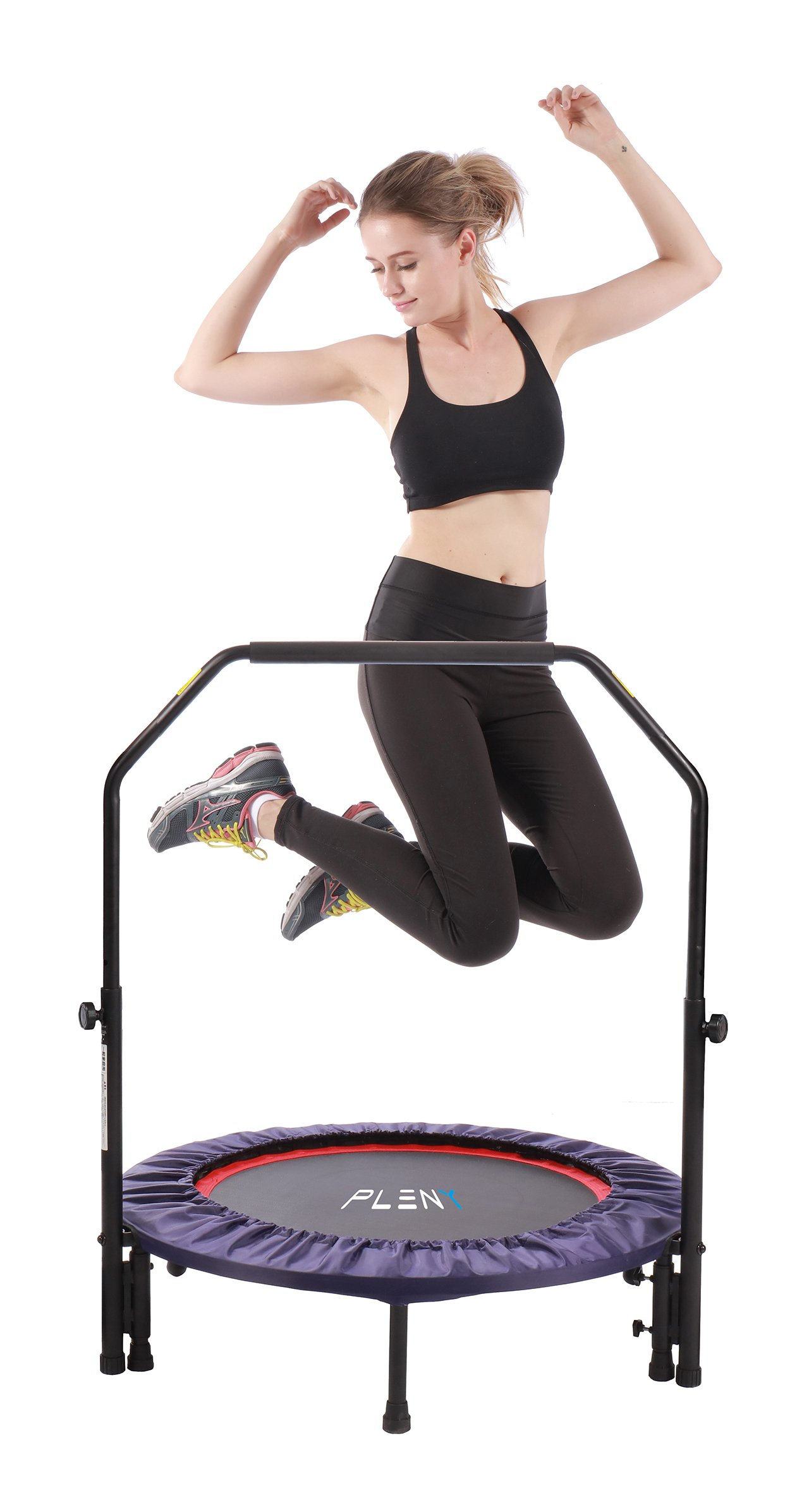 PLENY 38'' Mini Fitness Trampoline Handle Bar, 2-in-1 Lean Rebounder, Non-Foldable