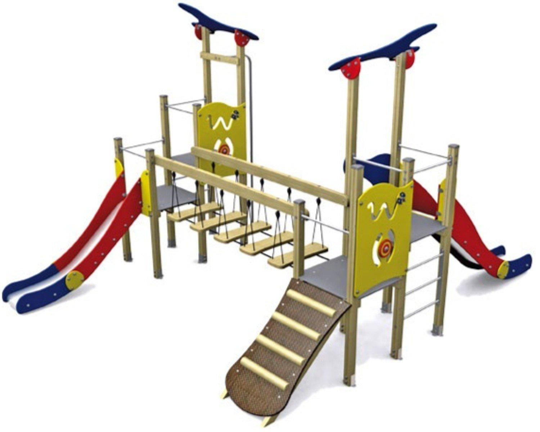 Loggyland Spielturm KLASSIK V mit Brücke, zwei Rutschen, Rutschstange und Rampe - für öffentliche Spielplätze & Einrichtungen