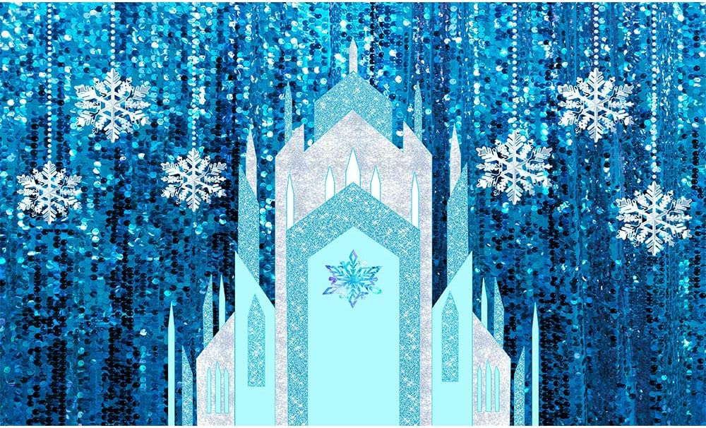 Allenjoy 5x3ft Ice Snow Castle Backdrop Winter Princess Snowflake Blue Sequin Curtain Photography Background Girl Birthday Baby Shower Party Supplies Home Decor Cake Table Banner Photo Booth Prop