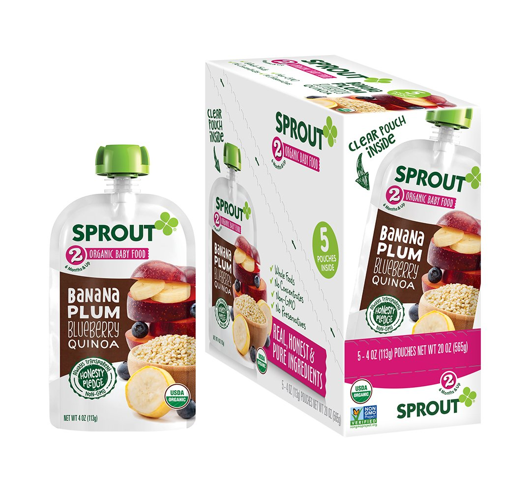 Sprout Organic Baby Food Pouches, Stage 2 Sprout Baby Food, Banana Plum Blueberry Quinoa, 4 Ounce (Pack of 5)