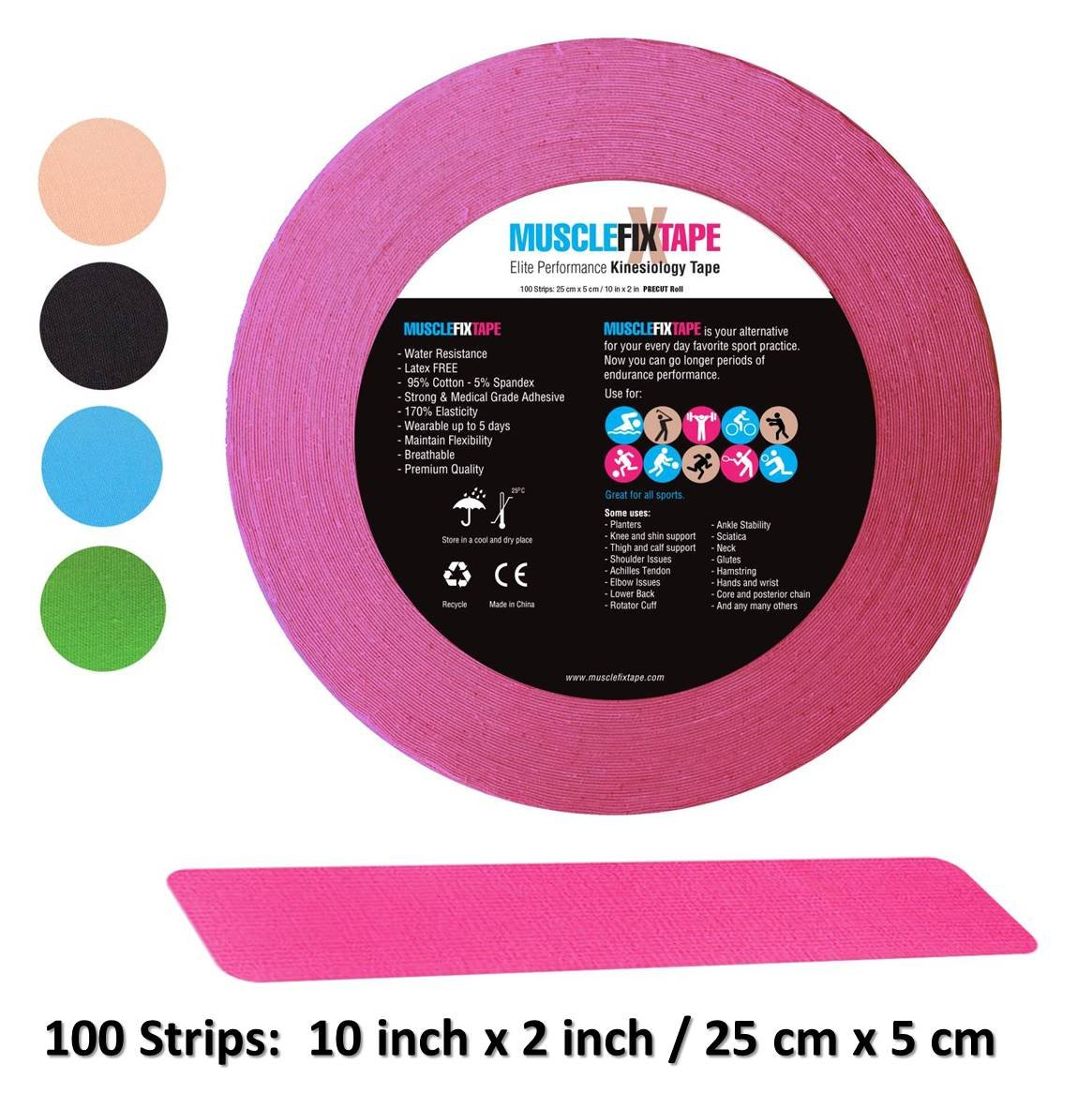 Pink Kinesiology Tape Precut Roll - Bulk Jumbo Clinical Size Recovery Sports Athletic Injury Therapeutic Support PRO Physio Therapy (100 Strips: 10 in x 2 in / 25 cm x 5 cm) kt-Tape kttape ktape