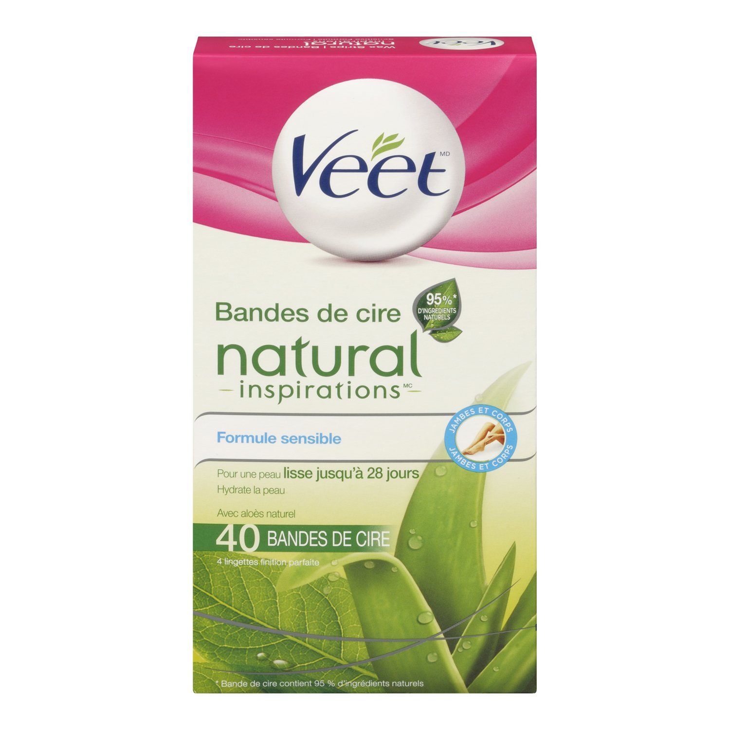 Veet, Wax Strips with Easy Gelwax, Hair Removal, Remove the Shortest Hairs, Dry Skin, Legs & Body, 20 Count