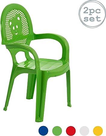 Chaise en plastique pour jardinextérieur pour enfant vert meuble pour enfant lot de 2