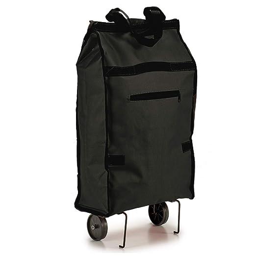 TU TENDENCIA ÚNICA Bolsa de Compra Plegable con Ruedas. Asa de Transporte. Impermeable (Negro)